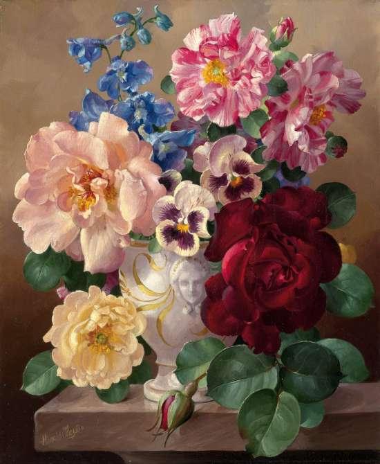 Картина по номерам 40x50 Букет роз в белой вазе