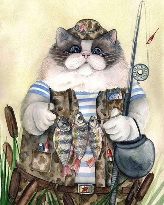 Картина по номерам 40x50 Кот рыбак в уловом