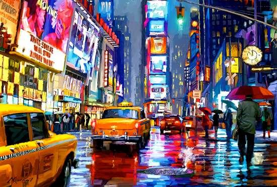 Картина по номерам 40x50 Таймс-сквер, Нью-Йорк