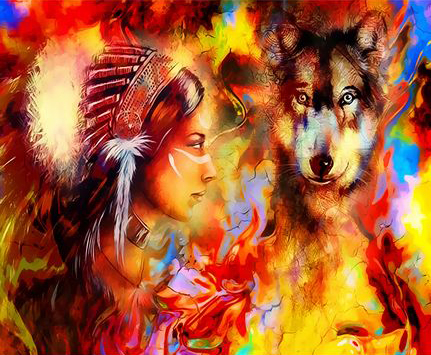 Картина по номерам 40x50 Индианка и волк